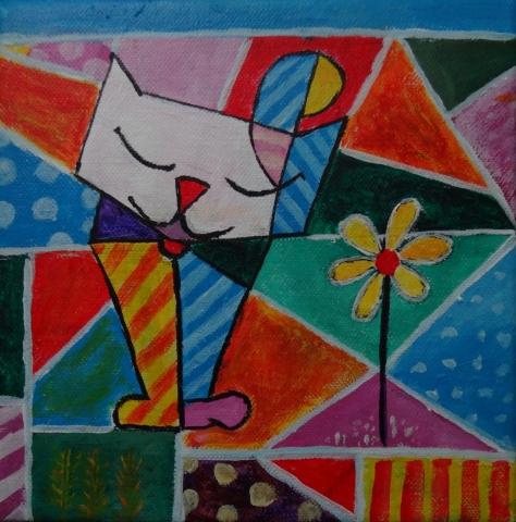 Gato con flor. Acrilico sobre lienzo de 20x20 cm. Autor: Juan Sandin