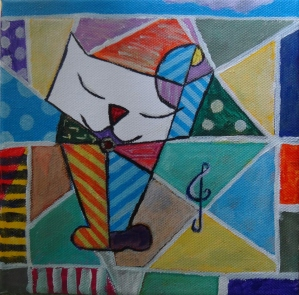 Gato con nota. Acrilico sobre lienzo de 20x20 cm. Autorr Juan Sandin Espada