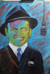 Frank Sinatra. Acrilicos sobre lienzo de 61x80 cm